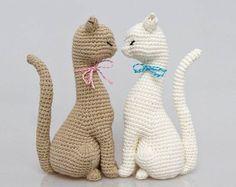 muñecos de ganchillo: gatos enamorados