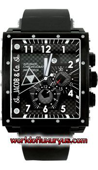 Jacob & Co. - Epic I Full - Square Chronograph - Q2B (Stainless Steel / Black Dial / Rubber) - See more at: http://www.worldofluxuryus.com/watches/Jacob-and-Co/Epic-I/Q2B/328_711_5136.php#sthash.z3D12NEA.dpuf