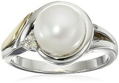 Sterling Silver and 14k Yellow Gold 8mm Freshwater Cultured Pearl and Diamond-Accent Ring, Size 8