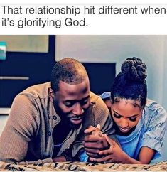 Everything hits different when you glorify God first but to be in a relationship where we pray and trust each other while trusting God ooo weee lol. God is good all the time and all the time God is good. Black Relationship Goals, Godly Relationship, Marriage Goals, Love And Marriage, Black Love Couples, Cute Couples Goals, Couple Goals, Couple Pictures, Black Love Quotes