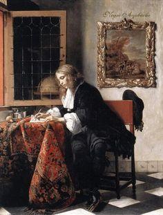 Hombre escribiendo una carta de Gabriel Metsu, (1662-1665), Oil on canvas, National Gallery of Ireland, Dublin