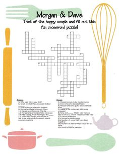 Happy Couple Crossword Puzzle - Wedding Shower Games (Bridal Shower, Party Games, etc.) - great for a bachelorette party, bridal shower, jack and jill or even in wedding hotel gift bags!