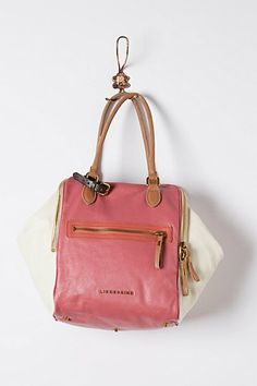 Pink and white canvas handbag purse with leather handle $200