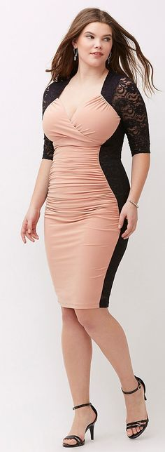 Plus Size Lace Body Con Dress
