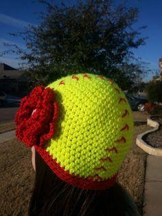 Crochet Softball Hat   Softball Hat  Teen by GitErDunnCrochet