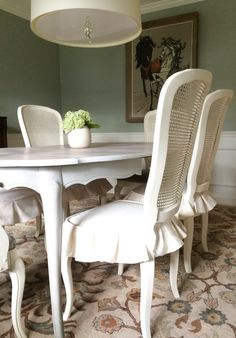 Chalk Paint Dining Room Table And Cane Chairs Makeover DIY Dropcloth Skirt
