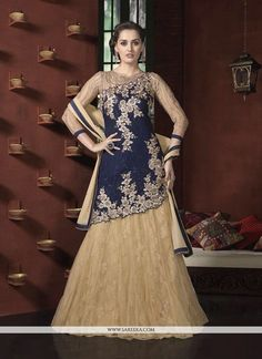 This navy blue georgette and net a line lehenga choli is adding the appealing glamorous displaying the feel of cute and graceful. The desirable embroidered and resham work all through the attire is aw...