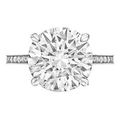 Preowned Betteridge 5.01 Carat Round Brilliant Diamond Platinum... ($132,500) ❤ liked on Polyvore featuring jewelry, rings, multiple, round engagement rings, pre owned engagement rings, platinum ring, preowned engagement rings and round ring