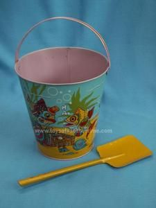 Vintage Tin or Metal Beach Sand Pail and Shovel J. Chein USA fish under the sea | eBay
