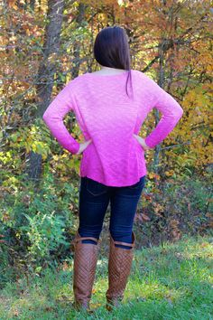 Not Your Ordinary Ombre Sweater-Pink at shopjulianas.com. Great way to brighten up your winter!
