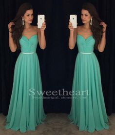 Simple sweetheart neck long green prom dress for teens, green bridesmaid dress