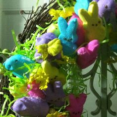A close up of my Peeps wreath