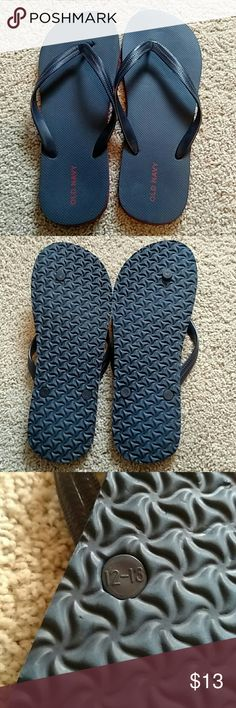 Old Navy flip flop sandals 12 13 Worn once, not a sandals man.  Navy blue with red trim for name and sole.  Size 12-13.  No issues Old Navy Shoes Sandals & Flip-Flops