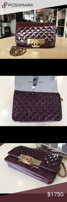"CHANEL patent Wallet on chain WOC crossbody Color: maroon with gold hardware, Please refer to photos for color details.  Material: patent leather   Length: 7.5"" Height:4.7""  Depth:1.6"" Drop: 25""  Serial number: 19943803   Made in Italy   Item comes with: no dust bag, no authentic card, purse only. Condition: preowned in good condition, BUT see scratch on the front CC logo hardware due to usage please refer to photos. Local pick up @ Boutique No. 5 in our Arcadia, CA store are welcome. CHANEL…"