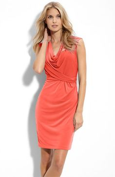 coral.cowl neck.jersey dress