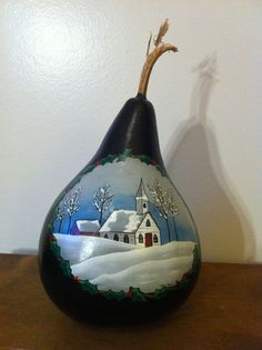 Hand Painted Black Winter Gourd by PappysPaintings on Etsy, $20.00