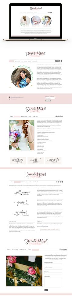 Feminine Website Design / Danielle Mitchell Events / Wedding Planner / Graphic…