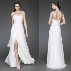 Strapless Ruched Bodice And Front Slit Slightly Beaded In Front And In Back Floor Length Chiffon Beach Wedding Dress SD16731