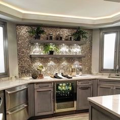 Basement Kitchenette has a beverage refrigerator for adults & a beverage refrige. - Home and Garden Decoration Küchen Design, House Design, Interior Design, Design Ideas, Design Inspiration, Bar Designs, Design Interiors, Diy Interior, Interior Lighting