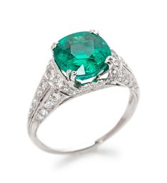 A platinum, Colombian emerald and diamond ring, Tiffany & Co. | Estimate: $50,000 - $70,000  | Important Jewelry | September 10, 2019