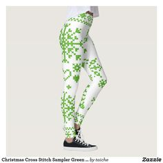 Christmas Cross Stitch Sampler Green and White Leggings White Leggings, Women's Leggings, Christmas Leggings, Cross Stitch Samplers, Christmas Cross, Workout Leggings, Embroidery, Polyvore, Green