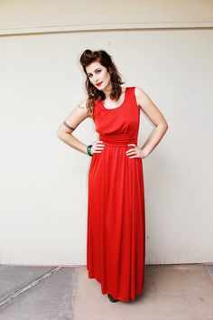 70s Red Dress // Long Satin Gown // Holiday by fredandlulu on Etsy
