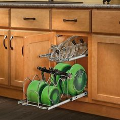 Buy the Rev-A-Shelf Chrome Direct. Shop for the Rev-A-Shelf Chrome Series Wide Two Tier Pull Out Cookware Organizer with Soft Close Slides for Base Cabinet and save. Pan Organization, Kitchen Cabinet Organization, Kitchen Storage, Organizing Tips, Cupboard Organizers, Kitchen Racks, Pull Out Kitchen Cabinet, Small Cabinet, Cabinet Space