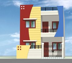 Free House Design, House Outer Design, Duplex House Design, House Front Design, 5 Bedroom House Plans, Small Cottage House Plans, Small Loft Apartments, Steel Railing Design, Independent House