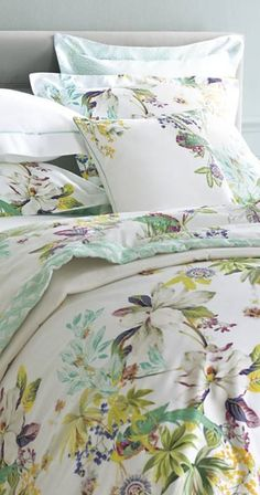 Woven with spring floral prints and finished in bright colors of a blossoming flowerbed, the Yves Delorme Ailleurs Bedding Collection will create a botanical-inspired oasis in your bedroom.