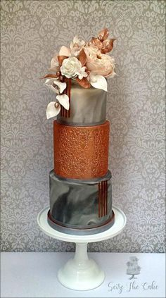 Modern Wedding Cakes Marble effect and copper lustre wedding cake by Seize The Cake - Beautiful Wedding Cakes, Gorgeous Cakes, Pretty Cakes, Amazing Cakes, Unique Cakes, Elegant Cakes, Creative Cakes, Modern Cakes, Cupcakes