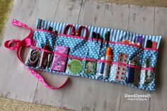 Roll Up Glove-box Essentials Caddy - A Free Sewing Tutorial from Doodlecraft Fabric Crafts, Sewing Crafts, Sewing Projects, Sewing Patterns Free, Free Sewing, Free Pattern, Sewing Kits, Quilting Patterns, Sewing Box