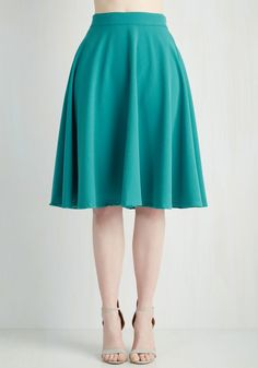 Bugle Joy Skirt in Teal. You hear your friends truck horn outside your window - your trumpet call to scoot this A-line skirt out the door and hop in! #green #modcloth