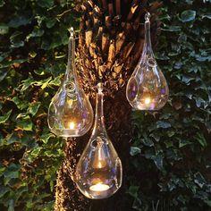 set of three hanging tealight teardrops by london garden trading   notonthehighstreet.com