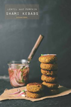 Ground Lentils and Pumpkin make up this vegetarian version of the delicious Indian Shami Kebab served with a quick pickled red onion relish.