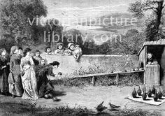 Ninepins. Victorian picture showing a group of young women playing ninepins in a walled enclosure in the countryside. A girl watches from a hut from where she returns the bowls down a wooden trough. Download high quality jpeg for just £5. Perfect for framing, logos, letterheads, and greetings cards.