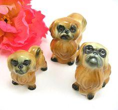 "Miniature Pekingese Dogs, 2"" Porcelain Figurines, Set of 3, Vintage Collectibles, Animals"