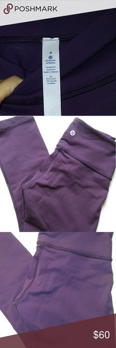 Authentic Lululemon Athletica Workout leggings Like New with no TAGS. THEY ARE IN excellent condition!!! No tears, snags, holes, peeling, no stretching...No smells. Smoke free & clean home The color is a Gorgeous DARK PLUM/ PURPLE COLOR!!! I LOVE THEM!!!  *** MAKE ME OFFERS!!! I LOVE THEM!!!*** According to my measurments, I believe these to be crop length leggings... Just FYI. lululemon athletica Other