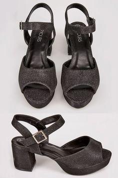 ec298dd85411d7 Black Textured Block Heel Sandals With Glitter Finish In TRUE EEE Fit Black  Glitter Heels