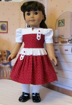 Stunning Red and White Tabbed Frock American Girl Doll Molly, American Girl Dress, American Doll Clothes, Girl Doll Clothes, African Dresses For Kids, Dresses Kids Girl, Kids Outfits, Baby Girl Dress Patterns, Baby Dress Design