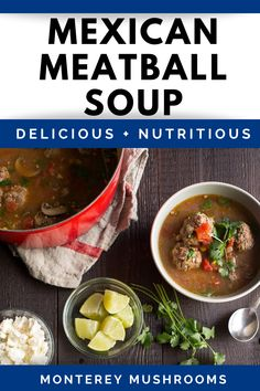 Enjoy this delicious meatball soup recipe - perfect for warming you up on a cold. Best Mushroom Soup, Mushroom Side Dishes, Best Mushroom Recipe, Mushroom Soup Recipes, Beef And Pork Meatballs, Mushroom Meatballs, Vegetarian Meatballs, Tasty Meatballs, Mexican Soup Recipes