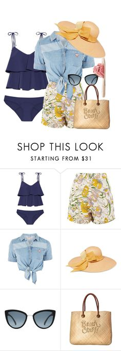 """Beach Stuff"" by watermelonhead ❤ liked on Polyvore featuring Lisa Marie Fernandez, Glamorous, GUESS, Sensi Studio, White Stuff and Ancient Greek Sandals"