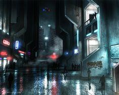 Cyberpunk Atmosphere, Dystopia, Night City, Neon, Cyber City, Neo Noir Street by ~ianllanas on deviantART