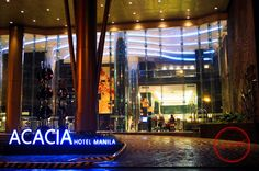 Facade of the newest 5-star hotel in the south, Acacia Hotel Manila..