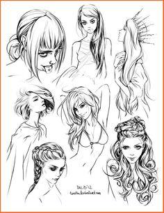 Desenhos de cabelos :3