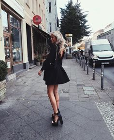 Claartje Rose, Dutch blogger, black dress, high heels Night Outfits, Summer Outfits, Cute Outfits, Casual Outfits, Spring Fashion, Girl Fashion, Autumn Fashion, Lounge Outfit, Glam Dresses