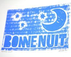 BONNE NUIT  Wall Art, Nursery Decor, French, Baby Room Art Sleep, Raw Art Letterpress
