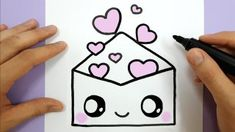 Pretty Easy Drawing - How To Draw A Cute Envelope With Love Hearts Easy Happy Drawings Jpg 480 480 Pretty Drawings How To Draw A Cute Tumbl. Pretty Easy Drawings, Cute Drawings Of Love, Cute Kawaii Drawings, Cute Animal Drawings, Drawing Videos For Kids, Easy Drawings For Beginners, Easy Drawings For Kids, Drawing Ideas, Drawing Art