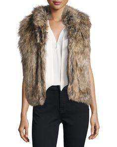 Pruce Reversible Faux-Fur Vest, Natural/Mushroom