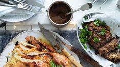 Jill Dupleix's dry-brined turkey with umami-rich Vegemite gravy and stuffing. Vegetarian Gravy Recipe, Dry Brine Turkey, How To Make Gravy, Good Food, Yummy Food, Star Food, Side Dishes, Stuffing, Candy
