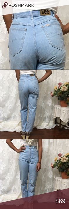 LEE Vintage Light Wash High Waist Taper Leg Jeans These Lee Jeans are the ultimate vintage 80's high waisted tapered leg jean in powder lightweight denim. 100% cotton, 5 pocket style with Lee leather logo patch on rear waistband. Tapered leg. No stretch. Made in USA    VINTAGE SIZING! Buyer is responsible for reading the full description Size 23, tag 5, measurements are approximate: - 11.5 inches across waist  - 11.5 inch rise  - 17.5 inches across hips - 28.5 inch inseam  - 5.5 inches…